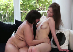 Sapphic hottie with long legs  Beata Undine fucks horn-mad granny