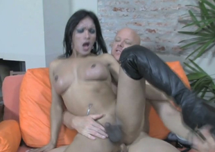 Naughty tranny Dulce C gets bore fucked by unembellished coxcomb Tom Moore