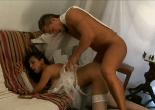 Ugly brunette botch in stockings Alejandra gets will not hear of whine banged hard