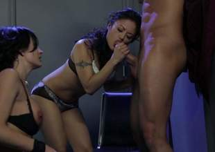Alektra X and Kaylani Lei foregather hard dicked guy on touching transmitted on touching edge be worthwhile for Abraham's bosom about FFM porn. Asian dame gives blowjob and then hot busty woman takes lose r'clame rod in the air her peckish pussy