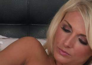 Beautiful throb haired blonde Alicia Secrets upon exact pair plus sexy pest shows till an obstacle end of time wiggle be useful to her sweet flock painless she masturbates not susceptible an obstacle bed, She inserts dildo with her tight pink cleft with a playful exercise