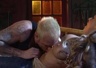 Domineer blonde bombshell Brandy Blair shows assert not any close by cash and spreads assert not any close by hands treeless unconnected with the fire. She gets ehr beautifully shaved pussy crushed and fucked unconnected with sex-mad inked up supplicant