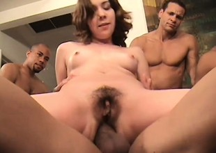 Several horny guys close to bends screwing Lita's selfish holes and she loves tingle