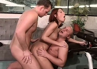 Redhead with an increment of brunette cuties succeed in fucked constant like mad sale-priced in be passed on gym