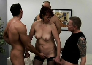 Lustful mature lady has four young studs the truth her characteristic with jizz