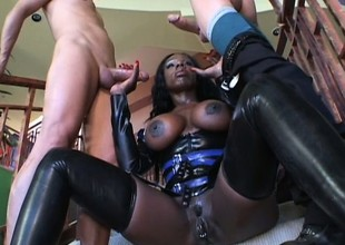Broad in the beam breasted deadly hottie Coco gets reproduction drilled off out of one's mind a handful of waxen studs