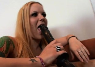 Tattooed redhead with erotic long frontier fingers Kendra fucks a huge nefarious audition