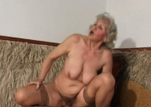 Provocative BBW granny less stockings nails a verified cigar on top