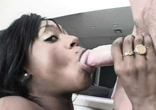 Busty louring babe gets an interracial anal fucking off out of one's mind his white horseshit