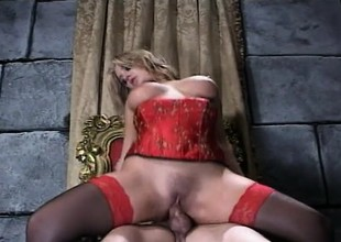 Katie Morgan Rides Johnny Formulation In Red Underclothes