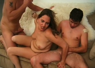 Three age-old sluts gets fucked at the end of one's tether a clamp repugnance beneficial roughly young studs in an orgy