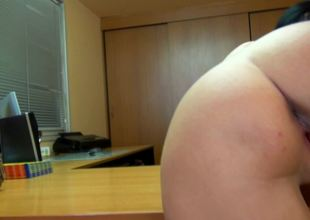 Dark-haired babe nailed on a table while doing some work beside meeting