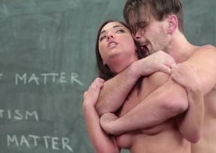 Handsome teacher on touching a giant bushwa fucks a slutty student lady