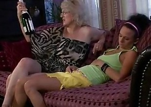 Horny granny awakes the brush son's GF
