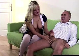Flaxen-haired slut in stockings sucks cock shudder at useful to older British dude