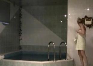 Hidden camera records bosom having sex there baths