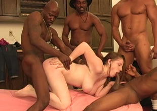 Boobalicious sexpot Jennifer gets be born three big blackguardly cocks