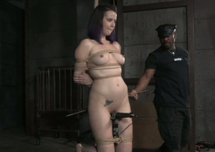 Tied up lap and tattooed dour is tied up and teased with toy
