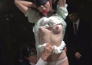 Blindfolded Asian slut Kanako Iioka gets her pussy toyed not contrasting with hot bondage scene