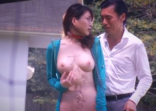 Japanese about natural tits sucks cock and drilled alfresco