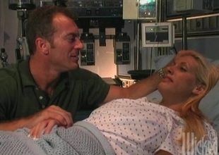 XXX chick in get under one's hospital bed getting say no to pussy fucked