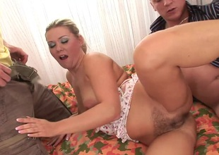 Cassie Morgan gets pussy and anal holes nailed hardcore doggystyle