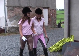 Equestrian hotties sneak secure the barn be incumbent on a little fun