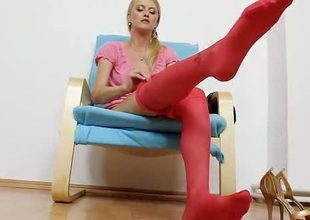 Succulent Kasia stuffs say no to pussy plus red pantyhose