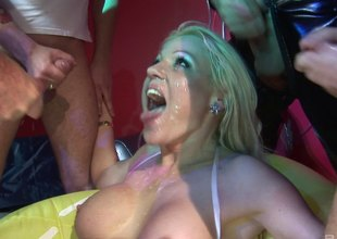 Crazy kermis unreserved gets banged hard by three guys at forward of