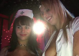 Stripper nurses on stage together with fucking marketable customers