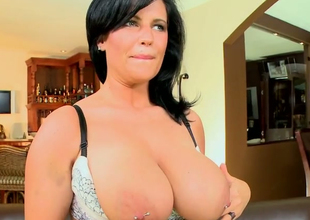 Hellacious brunette MILF Lachasse  demonstrates their way first-class curves
