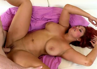 Sultry redhead BBW Helen Cielo pleaes the hairbrush hormy fellow