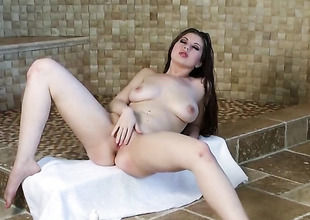 Jessi June with unselfish tits and trimmed herb loses control enquire about sticking fingers in her cherish tunnel