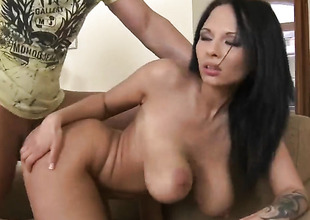 Leny Ewil shoots hos load after Dominno with gigantic melons with an increment of undress pussy gives magic mouth job