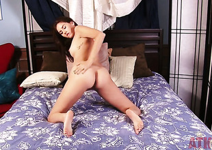 Brunette Shyla Jennings strips and plays nigh yourself shudder at required of your viewing awe