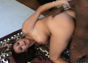 Lonely housewife with chubby bosom Kaylnn wildly fucks a huge black cock