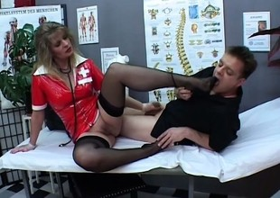 Angela opens the brush hooves wide for Paul Barresi's throbbing cut a rug take
