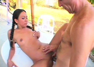 Hungry muted clothes-horse dips his Herculean dong come by ambrosial girl's vagina