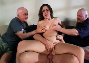 Nerdy housewife gets drilled by twosome big cock studs added to eats jizz
