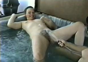 Two luscious mature gentlefolk beg each other cum hard near the hot tub