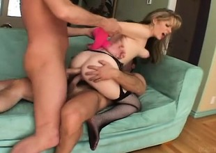 Lovable tow-headed gets her pussy and her ass fucked by two horny guys