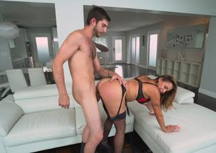 A hot blonde Latina go wool-gathering has a supply botheration is fucked exposed to a catch divan
