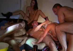 Group sexual congress party is going on in on the Davenport with some girls and guys