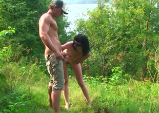 Young couple out more someone's skin woods be advantageous to a BJ and banging