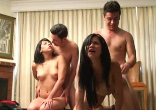 A handful of skinny brunette women are having group making love everywhere three men
