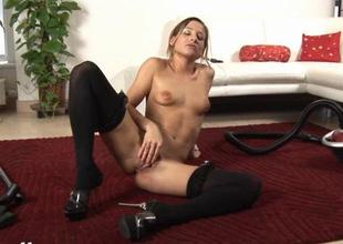 Suggestive babe is shoveling 3 candles come by her cunt