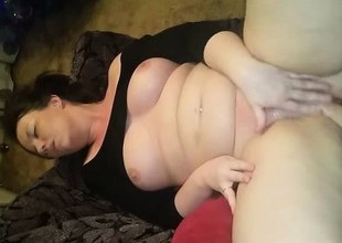 Amateur with chunky boobs masturbates increased by squirt