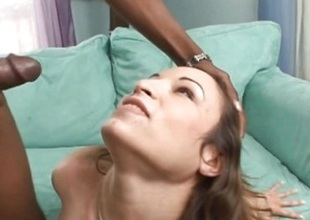 Amber Rayne gets the brush face plastered with tender jizz