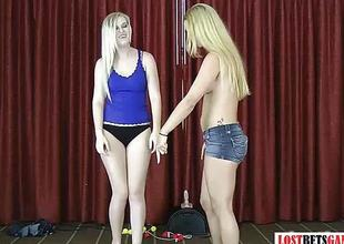 Two blondes take effect a strip facetiously throw the balls