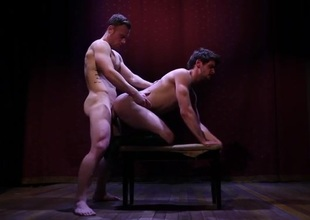 Hunky hard often proles show oneself hot making out on a stage
